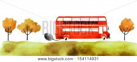 Beautiful cartoon double decker bus isolated on white background. Hand drawn watercolor double decker bus with autumn trees and grass for your design.