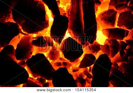 Background from the burning of coal, anthracite brand of medium size.