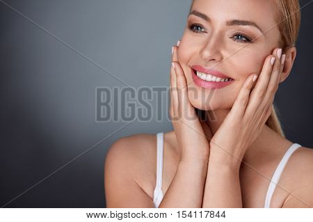 Natural beauty portrait of beautiful spa middle aged woman