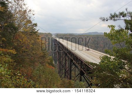 U.S. Route 19 runs over New River Gorge Bridge in Appalachian Mountains in West Virginia