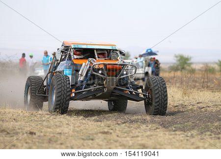 Speeding Orange Zarco Rally Car Front View