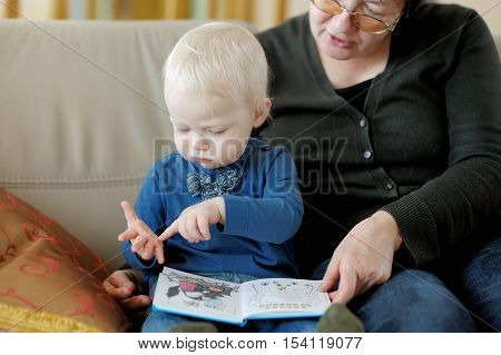 Grandmother and toddler granddaughter reading a book together