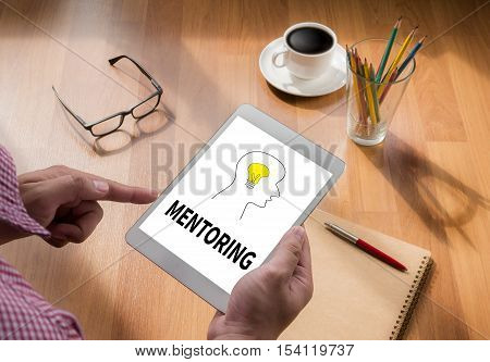 MENTORING touch digital tablet coffee backlinks, blogging, businessman, casual, coach