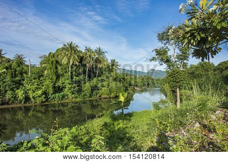 motain bluesky and river at kanchanaburi in thailand
