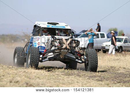 Speeding White Zarco Rally Car Front View