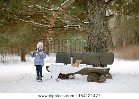 Little girl picnicking in the park at winter
