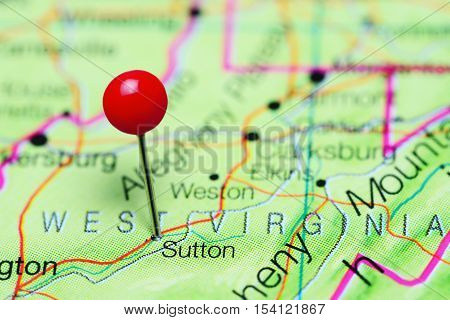 Sutton pinned on a map of West Virginia, USA