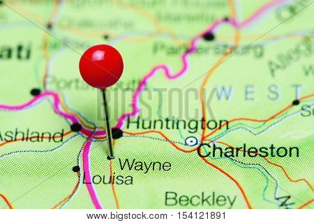 Wayne pinned on a map of West Virginia, USA