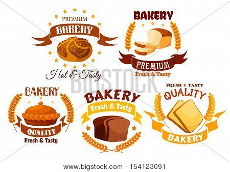 Bakery shop product labels set. Vector gold yellow emblem of white wheat and brown rye bread and pies elements. Fresh baked wheat bread slices, Tasty pies with fruit and meat filling