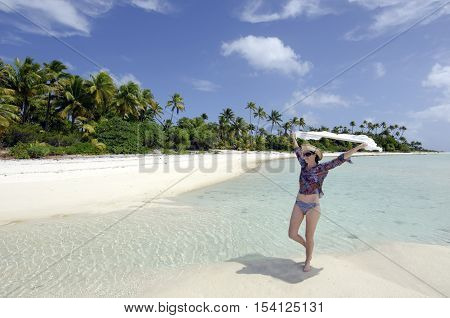 Young Sexy Woman Relaxing On A Deserted Tropical Island