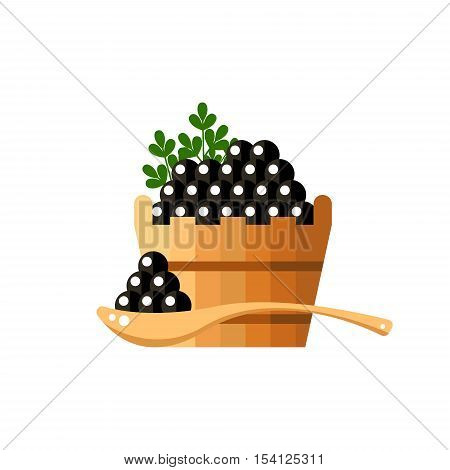 Black caviar in a wood barrel and spoon. Roe icon vector illustration. Russian traditional snack. Caviare menu for restaurant