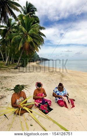 Portrait Of Polynesian Pacific Island Tahitian Mature Woman Aitutaki Lagoon Cook Islands