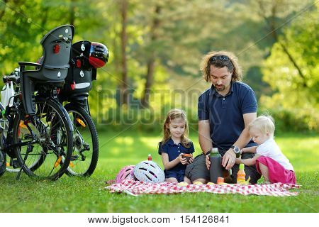 Young father and his daughters picnicking in the park