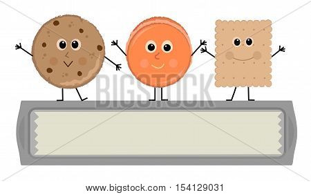 Cartoon cookies are standing on top of a baking sheet banner. Eps10