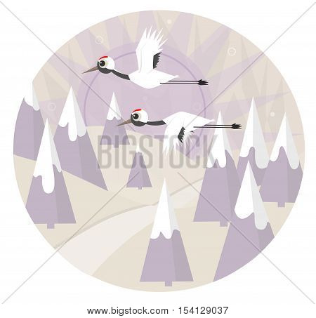 Two red crowned cranes are flying over a snowy landscape. Eps10