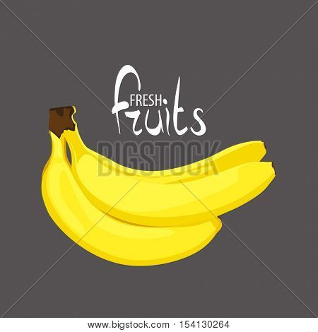A bunch of tasty bananas on a black background with a place for an inscription