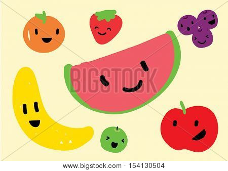 FRUIT set in a child style