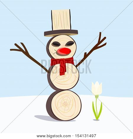 Wooden Snowman rejoices in the first snowflake flower.