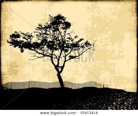 Vector Tree Silhouette On Vintage Fabric, See Jpeg Also In My Portfolio