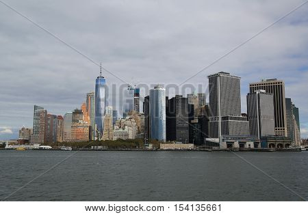 NEW YORK - OCTOBER 25, 2016: Lower Manhattan skyline panorama. Freedom Tower is the tallest building in the Western Hemisphere and the third-tallest building in the world