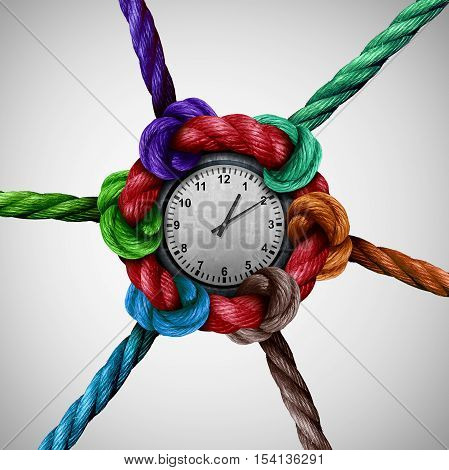Time nettwork social work coordination as a group of ropes tied and connected together to a central clock as a business organization metaphor or event planning icon with 3D illustration elements.