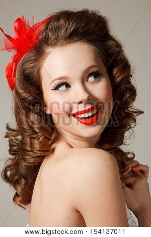 Pin-up girl. Professional make-up hair and style