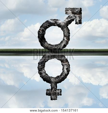 Equal rights concept as a symbol of a male creating a reflection of a female icon as an equality of men and women in society and employment issues as a metaphore with 3D illustration elements.
