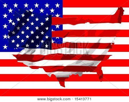 Amerika Flagge Vektorkarte auf U.S.A. Flagge