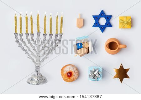 Hanukkah menorah and objects for mock up template design.View from above. Flat lay
