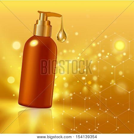 Vector illustration of Gold realistic cosmetic tube poster with collagen solution cream or essence on gold background