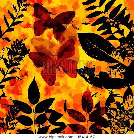 Vector Butterfly, Leaves Silhouette, See Jpeg Also In My Portfolio