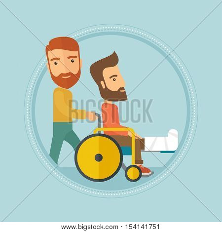 Caucasian hipster man pushing wheelchair with patient with broken leg. An injured man with fractured leg sitting in wheelchair. Vector flat design illustration in the circle isolated on background.