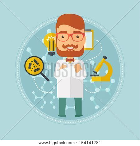 Hipster caucasian laboratory assistant with hands crossed. Confident laboratory assistant on background with molecular structure. Vector flat design illustration in the circle isolated on background.