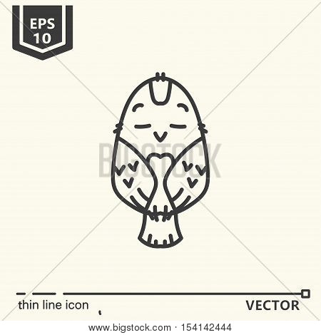 Thin line icon. Meditative Animals series - birdie. EPS 10. Isolated object