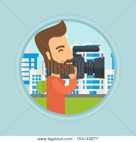 Caucasian hipster cameraman looking through movie camera. Man with professional video camera in city. Cameraman shooting outdoor. Vector flat design illustration in the circle isolated on background.