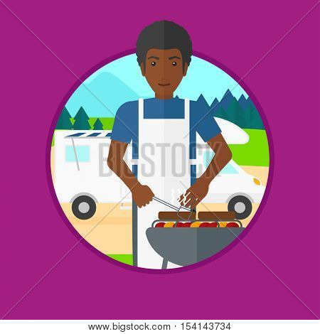 An african man cooking meat on barbecue on the background of camper van. Man travelling by camper van and having barbecue party. Vector flat design illustration in the circle isolated on background.