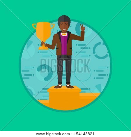 An african businessman standing on a pedestal with winner cup. Businessman celebrating his business award. Business award concept. Vector flat design illustration in the circle isolated on background.