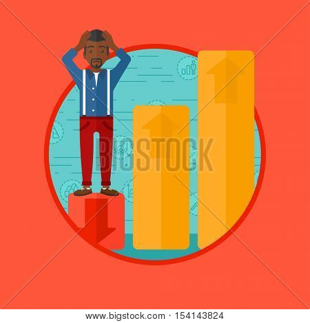 An african-american frightened bankrupt clutching his head. Bankrupt standing on chart going down. Concept of business bankruptcy. Vector flat design illustration in the circle isolated on background.