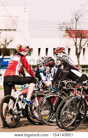 Girls With Bicycles At The Opening Of Cycling Season. Gomel, Belarus