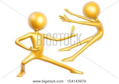 golden kungfu guy fighting pose isolated on white background 3d illustration