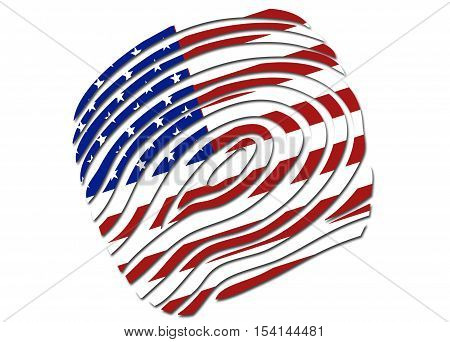 US flag thumb print symbol/ logo on a solid background