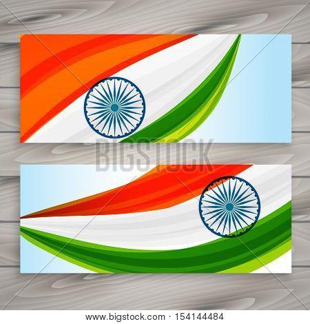 Indian Flag Banners Set Vector Design Illustration