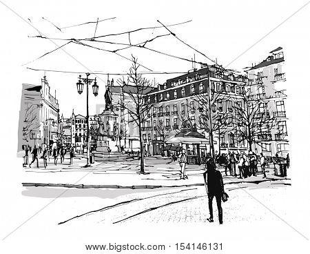 Portugal, Lisbon Chiado square - vector illustration
