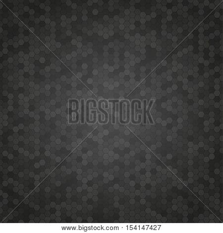 Mosaic Tile Honeycomb Vector Background. Comb Halftone Fone. Black Background. Vector illustration for Web Design.