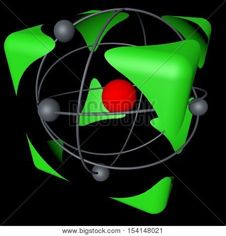 The concept of safety of nuclear energy, color, black background. 3d rendering.