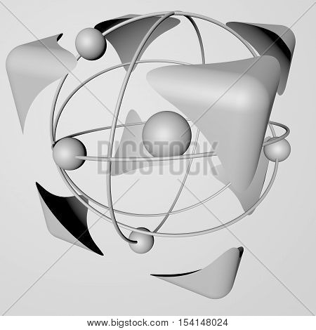 The concept of safety of nuclear energy, black and white, white background. 3d rendering.