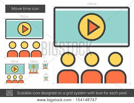 Movie time vector line icon isolated on white background. Movie time line icon for infographic, website or app. Scalable icon designed on a grid system.