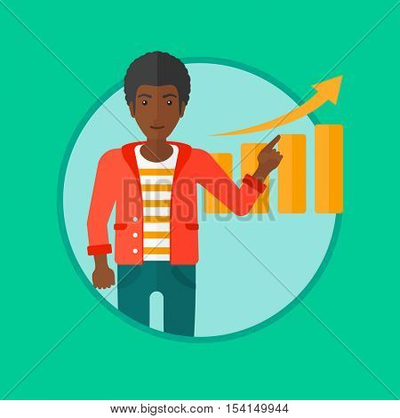 An african-american businessman pointing at increasing chart. Man giving business presentation. Business presentation in progress. Vector flat design illustration in the circle isolated on background.