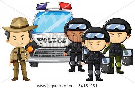 Policeman and SWAT team in uniform illustration