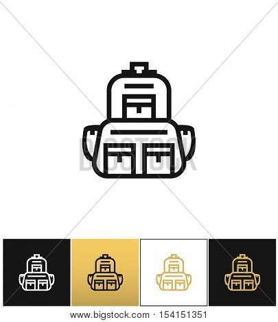 Backpack logo or linear luggage vector icon. Backpack logo or linear luggage program on black, white and gold background